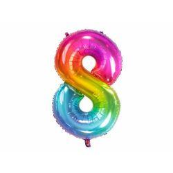 Balon foliowy cyfra 8 tęczowy - 86 cm - 1 szt.