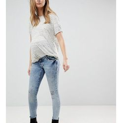 Supermom Maternity Distressed Skinny Over The Bump Jeans With Adjustable Waist - Blue