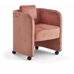Fotel COMFY, na kółkach, welur, łososiowy