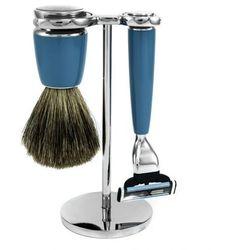 BLUE - stylowy zestaw do golenia 3-częściowy, pędzel BOSRUK SILVER TOP, SOLINGEN-C.S.