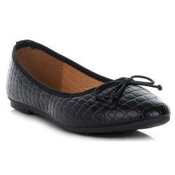 Klasyczne Buty Damskie Balerinki we wzór Aligatora marki Bellucci Czarne (kolory)