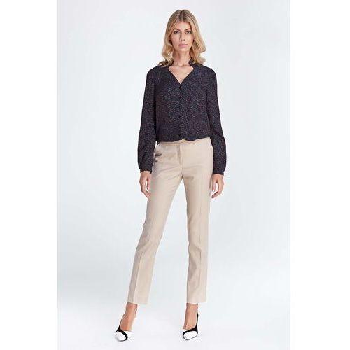 Spodnie damskie, Beżowe Klasyczne Długie Spodnie w Kant