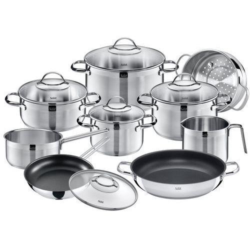 Garnki, Silit Achat zestaw garnków, 10-częściowy, garnek do smażenia, garnki do mięsa, rondel z uchwytem, garnek do mleka, wkład do gotowania na parze, patelnia z powłoką, szklana pokrywka, patelnia do smażenia/serwowania z powłoką, krawędzie ułatwiające zlewanie, z polerowanej stali szlachetnej, nadają się do kuchenek indukcyjnych i mycia w zmywarce