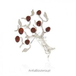 ankabizuteria.pl Biżuteria srebrna - broszka srebrna z bursztynem drzewko