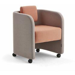 Fotel COMFY, na kółkach, wełna, srebrnoszary/łososiowy