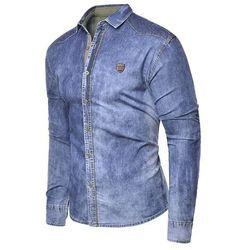 Koszula męska jeansowa długi rękaw rl15 - niebieska