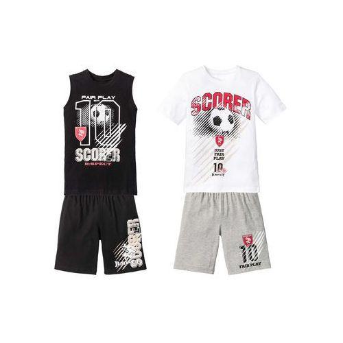 Koszulki z krótkim rękawkiem dziecięce, T-shirt + koszulka bez rękawów + bermudy (4 części) bonprix biało-czarno-szary melanż