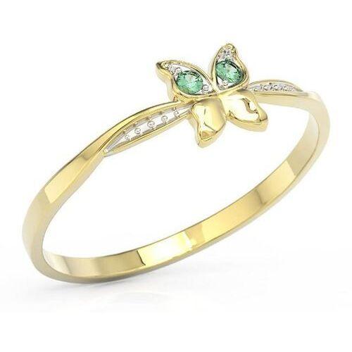 Pierścionki i obrączki, Pierścionek motylek z żółtego złota z zielonymi cyrkoniami bp-88z-r-c