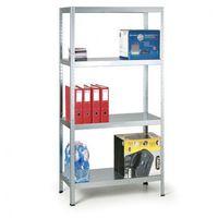 Regały warsztatowe, Regał metalowy, 130 kg, 1800x900x400 mm, 5 półek, biały