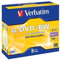 Płyty CD, DVD, Blu-ray, Verbatim DVD+R 4x 4.7GB 5P JC Matt Silver 43229