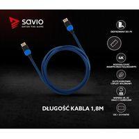 Kable video, Kabel HDMI v2.0 Savio GCL-02 1,8m, dedykowany do Playstation, gamingowy, OFC, 4K, niebiesko-czarny, złote końcówki
