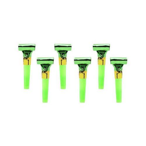 Pozostałe wyposażenie domu, Gwizdki trąbki rozwijane holograficzne zielone - 6 szt