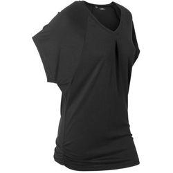 """T-shirt """"wellness"""" z krótkimi rękawami typu nietoperz bonprix czarny"""