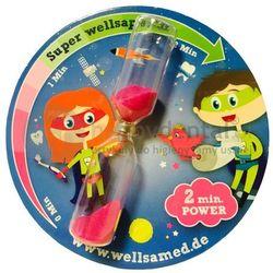 WELLSAKIDS zegar 2 minutowy 1szt. - zegar w formie klepsydry dla dzieci, odmierzający zalecany 2 minutowy czas mycia zębów