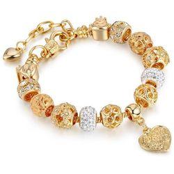 Bransoletka złota damska charms cyrkonie serce