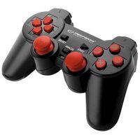 "Gamepady, Gamepad PS2/PS3/PC USB Esperanza ""Corsair"" czarno/czerwony"