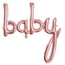 Balon foliowy różowe złoto napis Baby - 73,5 x 75,5 cm