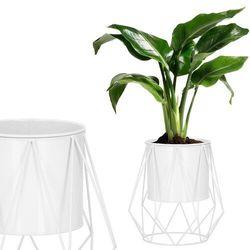 Stojak na kwiaty 26,5 cm z doniczką nowoczesny kwietnik loft biały mat