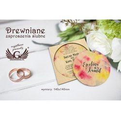 Zaproszenia ślubne z drewna - cyfrowy druk UV - ZAP016
