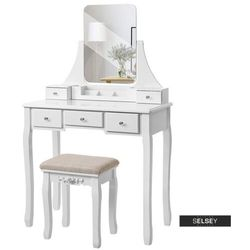 SELSEY Toaletka Shalow Singuli 80 cm z prostokątnym lustrem i taboretem