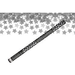 Tuba strzelająca - srebrne gwiazdki metaliczne - 80 cm - 1 szt.