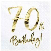 """Serwetki, Serwetki """"70th Birthday - złote urodziny"""", PartyDeco, białe, 33 cm, 20 szt"""