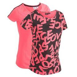 T-shirt bawełniany (2 szt.), krótki rękaw bonprix czarno-jasnoróżowy