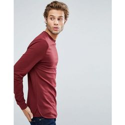ASOS Longline Muscle Sweatshirt With Curved Hem & Insert - Red