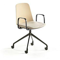 Krzesło LANGFORD, podstawa na kółkach, żółty