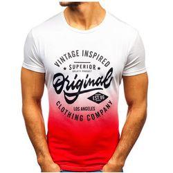T-shirt męski z nadrukiem biało-czerwony Denley KY38