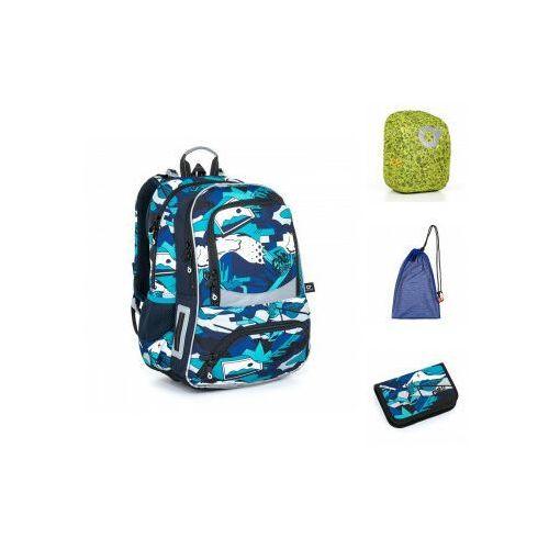 Tornistry i plecaki szkolne, Plecak szkolny niebieski w miejskim stylu graffiti Topgal NIKI 21022 B