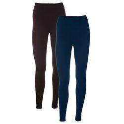 Legginsy ze stretchem (2 pary w opak.) bonprix ciemnoniebieski + czarny