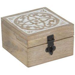 Drewniana szkatułka na drobiazgi, jasne drewno z białymi wykończeniami