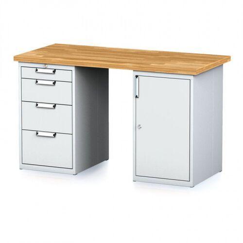 Stoły warsztatowe, Stół warsztatowy MECHANIC, 1500x700x880 mm, 1x 4 szufladowy kontener, 2x szafka, szary/szary