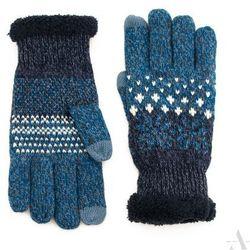 Niebiesko-granatowe rękawiczki damskie z gwiazdkami i futerkiem - niebieski ||granatowy
