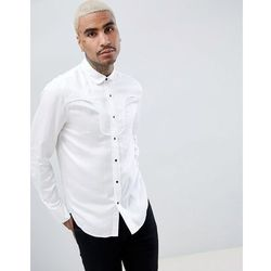 ASOS DESIGN Regular Fit Western Viscose Shirt In White With Black Poppers - White