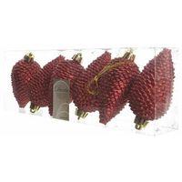 Ozdoby świąteczne, Bombki plastikowe 8 cm 6 szt. czerwone SZYSZKA