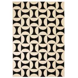 Nowoczesny dywan, wzory geometryczne, 120x170 cm, beżowo-czarny