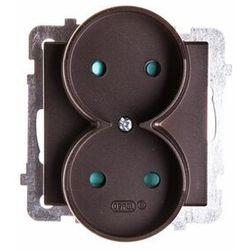Gniazdo podwójne Ospel Sonata GP-2RP/40 z przesłonami torów prądowych czekoladowy metalik