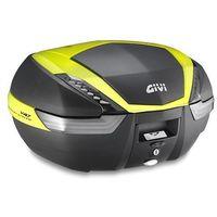Kufry i bagażniki motocyklowe, Kufer Givi V47NNTFL (czarny, 47 litrów, szare odblaski, pokrywa karbonowa, dodatki żółte)