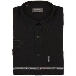 Czarna, lniana koszula męska z krótkim rękawem Aldo Vrandi