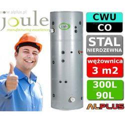 JOULE CYCLONE do pompy ciepła 300L / 90L TANK-ON-TANK nierdzewny zbiornik na zbiorniku, bojler 300 litrów z wężownicą do pompy ciepła 3,0m2 i buforem 90 litrów, aż 2 grzałki 3kW, 215cm x 60cm, wysyłka gratis