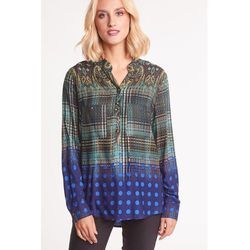 Wzorzysta bluzka w niebiesko-brązowych odcieniach - Duet Woman
