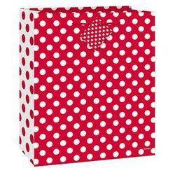 Torebka prezentowa czerwona w białe kropeczki 18x23 cm - 1 szt.