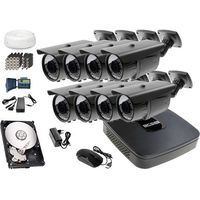Zestawy monitoringowe, Zestaw do monitoringu: Rejestrator BCS-XVR0801E, 8x Kamera LV-AL60MVT, 1TB, akcesoria
