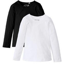 Koszulka z długim rękawem (2 szt.) bonprix czarny + biały