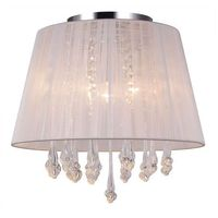 Lampy sufitowe, Plafon LAMPA sufitowa ISLA MXM1869-3 WH Italux abażurowa OPRAWA kryształowa glamour crystal biała