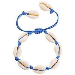 BRANSOLETKA sznurek MUSZLE muszelki NIEBIESKA - niebieski