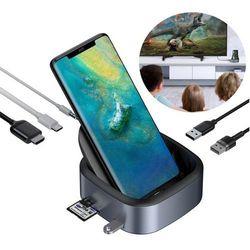 Baseus Mate Docking stacja dokująca USB Typ C HUB 3x USB 3.0 + 1x USB-C (PD) + 1x 3.5mm audio + 1x HDMI, czytnik kart SD/microSD szary (CAHUB-S0G)