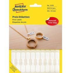 Etykiety jubilerskie cenowe do opisywania ręcznego Avery Zweckform 930etyk./op. 49x10mm białe